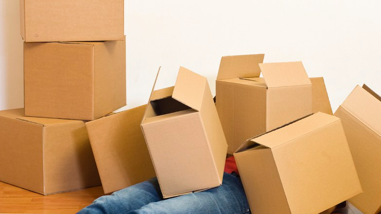 Man covered in cardboard boxes - moving concept